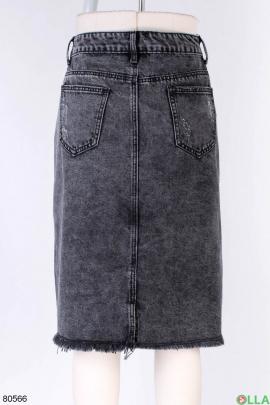 Женская темно-серая джинсовая юбка