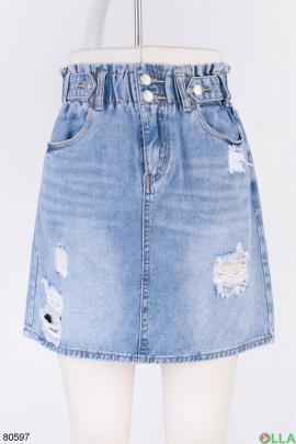 Женская голубая джинсовая юбка