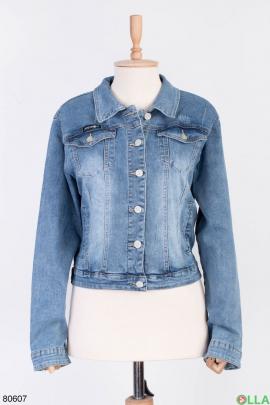 Женская синяя джинсовая куртка