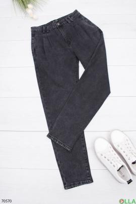 Женские черные джинсы с поясом в классическом стиле