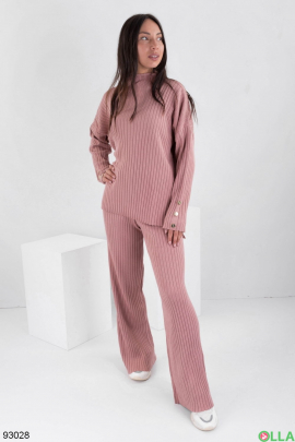 Женский розовый трикотажный костюм