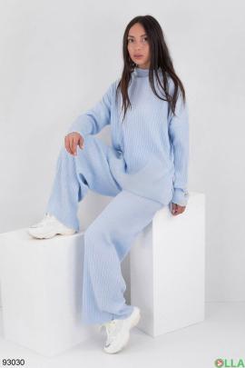 Женский голубой трикотажный костюм