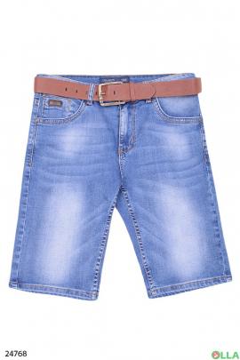 Джинсовые шорты с ремнем
