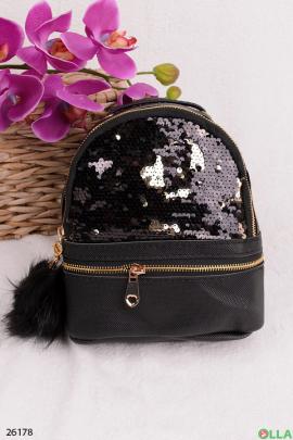 Рюкзак черный с пайетками