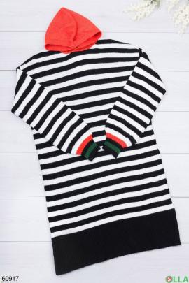 Женское трикотажное  платье в полоску