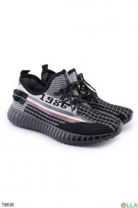 Женские черно-белые кроссовки из текстиля