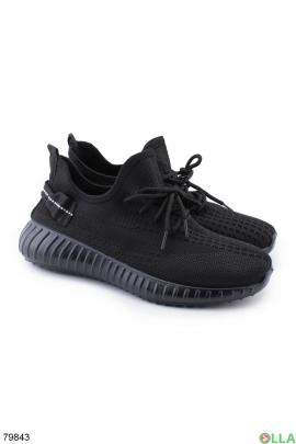 Женские черные кроссовки из текстиля