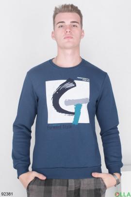 Мужской Темно-синий свитшот на флисе