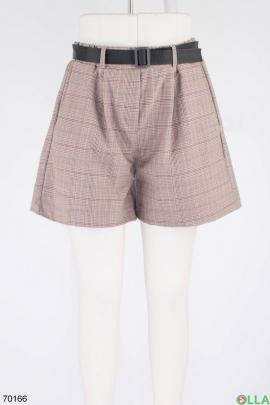 Женские коричневые шорты с поясом