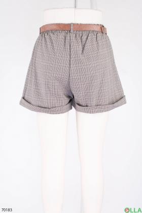 Женские серые шорты с поясом