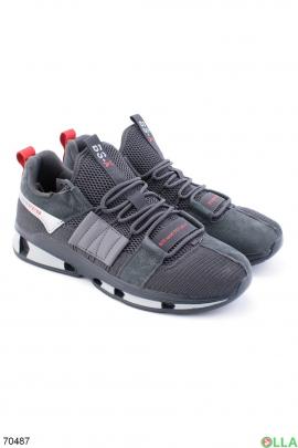 Мужские кроссовки с вставками из эко-замши