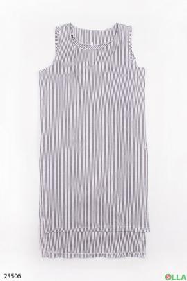 Полосатое платье без рукавов