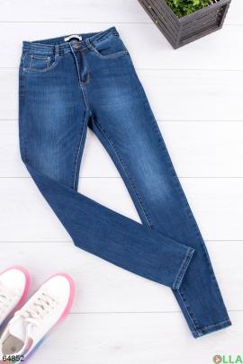 Женские синие джинсы на флисе