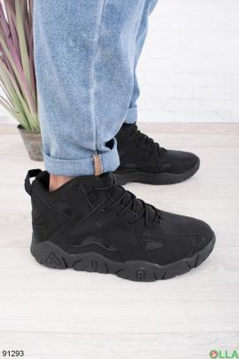 Мужские зимние темно-серые кроссовки на шнуровке