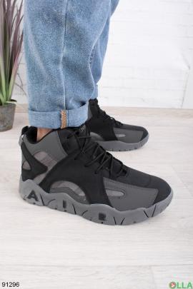 Мужские зимние черно-серые кроссовки на шнуровке