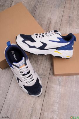 Синие с белым  спортивные кроссовки