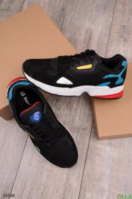 Мужские черные спортивные кроссовки с голубыми вставками