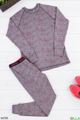 Мужской серо-бордовый термокостюм на флисе
