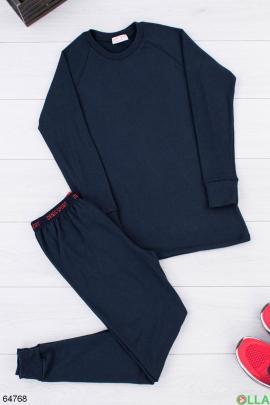 Мужской  темно-синий термокостюм на флисе