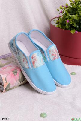 Голубые кеды без шнуровки