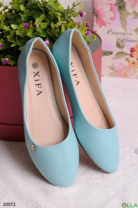 Женские балетки голубого цвета