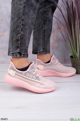 Женские серо-розовые кроссовки из текстиля