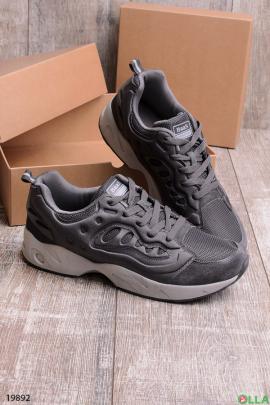 Мужские серые  спортивные кроссовки