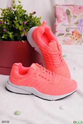 Коралловые кроссовки на шнуровке