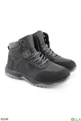 Мужские зимние темно-серые ботинки