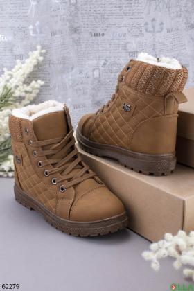 Женские коричневые зимние ботинки