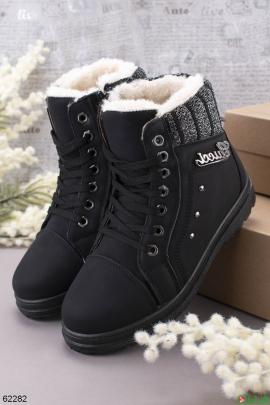 Женские черные зимние ботинки