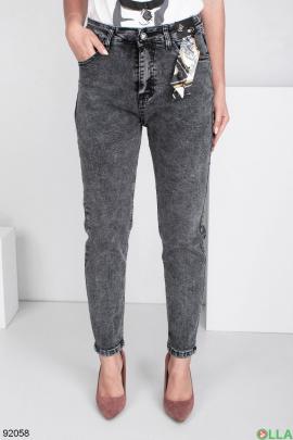 Женские темно-серые джинсы-бананы