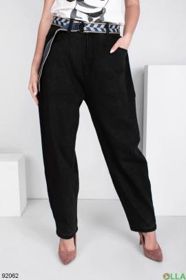Женские черные джинсы-бананы