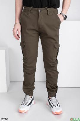 Мужские джинсы-карго цвета хаки