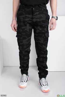 Мужские черно-серые джинсы-карго