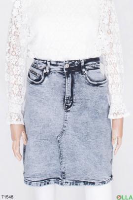Женская серая джинсовая юбка