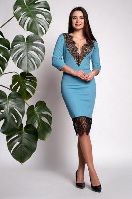 Платье с кружевом и вырезом-декольте