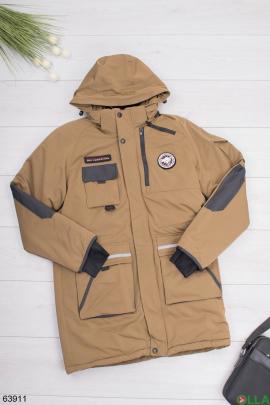 Мужская зимняя светло-коричневая куртка