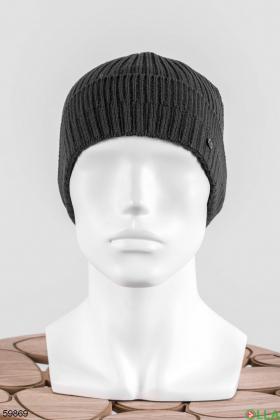 Мужская темно-серая шапка