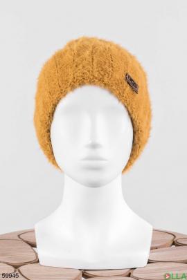 Женская оранжевая шапка
