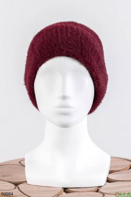 Женская бордовая шапка на флисе