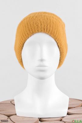 Женская оранжевая шапка на флисе