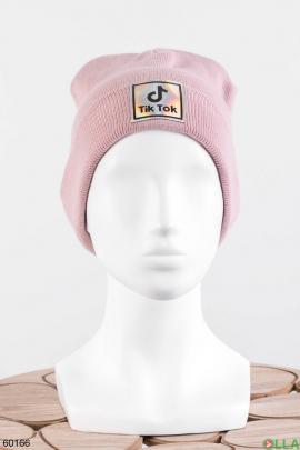 Женская розовая шапка