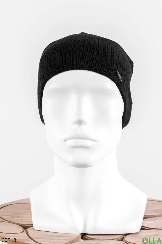 Мужская черная шапка на флисе