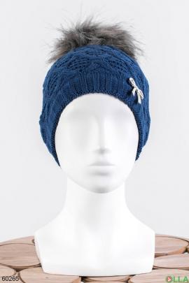 Женская синяя шапка на флисе