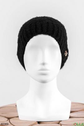 Женская черная шапка на флисе