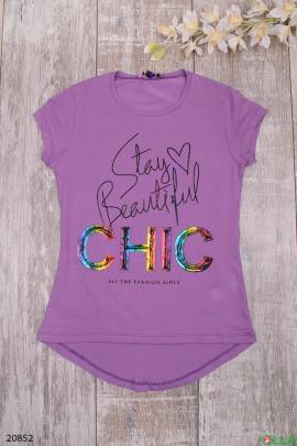 Фиолетовая футболка с рисунком