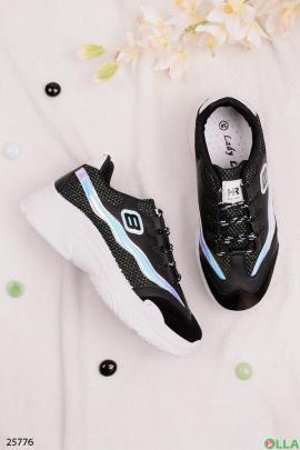 Чёрные кроссовки со вставками