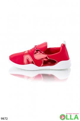 Кроссовки красные без шнуровки