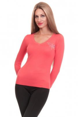 Женский коралловый свитер